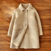 woolen coat Beige 120cm,130cm,140cm,150cm,160cm,170cm female Other / other wool Simplicity thickening winter Single breasted Wool 73.4% others 26.6% Solid color Lapel and pointed collar