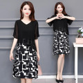 Women's large Summer 2020 black Dress Fake two pieces commute easy moderate Socket Short sleeve Korean version V-neck Medium length routine 8090-1 Han beiai 40-49 years old Asymmetry Medium length Other polyester 95% 5% Pure e-commerce (online only) Princess Dress zipper