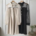Dress Spring 2021 Apricot dress, black dress M,L,XL,2XL Mid length dress singleton  Long sleeves commute Polo collar High waist Solid color zipper routine Others 18-24 years old Type A Korean version FG711069 30% and below other other