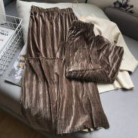skirt Autumn 2020 Average size Coffee skirt, blue skirt, pink skirt, black skirt Mid length dress commute High waist Pleated skirt Solid color Type A 25-29 years old FG206674 30% and below fold Korean version