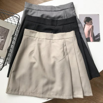 skirt Summer 2021 S, M Grey apricot skirt, grey skirt, black skirt Short skirt commute High waist Pleated skirt Solid color Type A 18-24 years old FG711238 30% and below Other / other polyester fiber Pocket, zipper Korean version