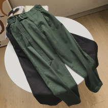 Casual pants Black, green S,M,L Autumn 2020 trousers High waist commute routine 18-24 years old 30% and below FG414741 Korean version