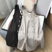 Dress Spring 2021 Average size longuette singleton  Sleeveless commute High waist Solid color Socket A-line skirt routine camisole 25-29 years old Type A Button 30% and below other