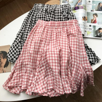 skirt Spring 2021 Average size Pink skirt, black skirt Short skirt commute High waist A-line skirt lattice Type A 18-24 years old SG417053 30% and below other other Korean version