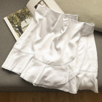 skirt Summer 2020 S,M,L,XL White skirt Short skirt commute High waist Ruffle Skirt Solid color Type A 18-24 years old SG304050 30% and below other Other / other other Korean version