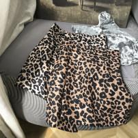 skirt Summer 2021 S,M,L,XL Coffee skirt, apricot skirt Short skirt commute High waist A-line skirt Leopard Print Type A 18-24 years old FG159135 30% and below other other zipper Korean version