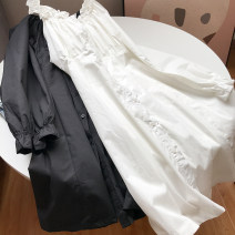 Dress Summer 2021 White, black Average size Mid length dress singleton  Short sleeve commute Crew neck Elastic waist Solid color Socket 18-24 years old Other / other FG417244 30% and below