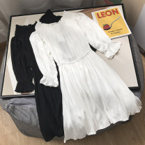 Dress Spring 2021 White, black S, M longuette singleton  Long sleeves commute Crew neck Solid color Socket 18-24 years old Type A Other / other 30% and below