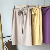 skirt Spring 2021 S,M,L,XL Lake blue, yellow, purple, apricot, black Mid length dress commute High waist other Solid color 18-24 years old FG416804 30% and below other
