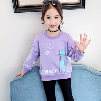 T-shirt Pink Purple Bear and bear 110cm 120cm 130cm 140cm 150cm 160cm female spring and autumn Long sleeves Crew neck Korean version There are models in the real shooting nothing cotton Cartoon animation Cotton 85% polyester 15% DWY009 Class B Spring 2020