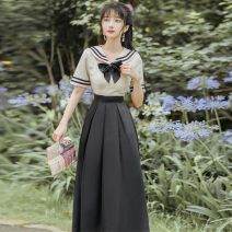 Dress Spring 2021 Rice white and black - five hundred and fifty-five S,M,L Mid length dress Two piece set Short sleeve routine bow B462E3070