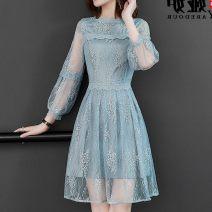 Dress Winter 2016 blue S suggests 95-104 Jin, m 105-114 Jin, l 115-124 Jin, XL 125-134 Jin, 2XL 135-142 Jin Mid length dress singleton  three quarter sleeve Other / other Stitching, lace