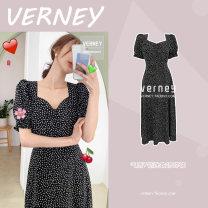 Dress Summer 2020 black S,M,L,XL longuette singleton  Short sleeve commute V-neck Broken flowers zipper A-line skirt puff sleeve 18-24 years old Korean version