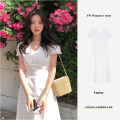 Dress Summer 2020 white S,M,L,XL Mid length dress singleton  Short sleeve commute V-neck High waist Solid color zipper A-line skirt Petal sleeve Others 18-24 years old Type A Korean version 81% (inclusive) - 90% (inclusive) other