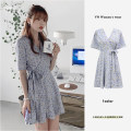 Dress Summer 2020 Picture color S,M,L,XL Short skirt singleton  Short sleeve commute V-neck High waist Broken flowers other A-line skirt routine Others 18-24 years old Type A Other / other Korean version 31% (inclusive) - 50% (inclusive) Chiffon polyester fiber