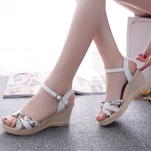 Sandals Blue, pink, white PU Other / other Barefoot Slope heel High heel (5-8cm) Summer of 2018 Flat buckle Sweet Plants and flowers Adhesive shoes Youth (18-40 years old) rubber daily Front and rear trip strap Low Gang Lateral space PU PU Required attribute printing Zero point five
