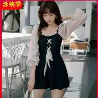 one piece  Tagkita / she and others M,L,XL,XXL black Skirt one piece With chest pad without steel support Nylon, spandex, polyester, others Fairy model sexy female Middle sleeve Casual swimsuit Solid color Pleating