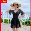 one piece  Tagkita / she and others Skirt one piece Steel strap breast pad Spandex, polyester Fairy fan female Short sleeve Casual swimsuit