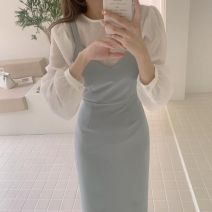 Dress Autumn 2020 Khaki, light grey blue, beige shirt S,M,L,XL Mid length dress