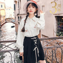 skirt Autumn of 2019 XS S M L XL Short skirt Versatile Natural waist SGF121132 More than 95% More than thirteen polyester fiber Embroidered bandage Polyester 97.7% polyurethane elastic fiber (spandex) 2.3%