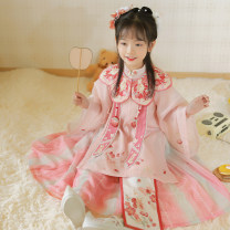 Hanfu nation 8 years old, 10 years old polyester fiber Chinese style female Long shirt + sling + skirt + cloud shoulder first batch [April 5] shipment long shirt + sling + skirt + cloud shoulder second batch [May 5] shipment long shirt + sling + skirt + cloud shoulder third batch [May 15] shipment