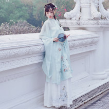 Hanfu 96% and above Summer 2020 Standing collar and slanting front long shirt thinking of no evil, waist thinking of no evil horse face skirt (4.5m swing) thinking of no evil polyester fiber