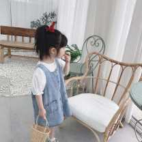 Dress Button strap skirt (in stock) female Other / other 90cm / 7, 100cm / 9, 110cm / 11, 120cm / 13, 130cm / 15 Cotton 100% spring and autumn Korean version Long sleeves Solid color cotton Denim skirt 2 years old, 3 years old, 4 years old, 5 years old, 6 years old, 7 years old, 8 years old