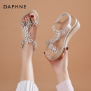 Sandals 35 36 37 38 39 Black Silver Gold PU Daphne / Daphne Round head Slope heel High heel (5-8cm) Summer 2021 Elastic band Sweet Solid color Adhesive shoes Youth (18-40 years old) polyurethane daily Back space rhinestone Low Gang Hollow Microfiber skin Microfiber skin Fashion sandals Shaving