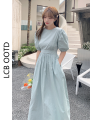 Dress Summer 2021 White, green S,M,L longuette singleton  Short sleeve commute Crew neck High waist Solid color Socket A-line skirt puff sleeve 18-24 years old Type A Korean version 71% (inclusive) - 80% (inclusive) cotton