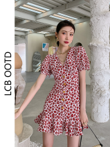 Dress Summer 2021 Picture color S,M,L Short skirt singleton  Short sleeve commute V-neck High waist Broken flowers Ruffle Skirt puff sleeve 18-24 years old Type A Korean version More than 95%