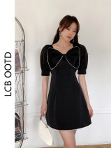 Dress Summer 2021 Picture color S,M,L,XL Short skirt singleton  Short sleeve commute square neck High waist Solid color A-line skirt puff sleeve 18-24 years old Type A Retro 81% (inclusive) - 90% (inclusive) polyester fiber