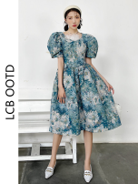 Dress Summer 2021 Oil blue S, M Mid length dress singleton  Short sleeve commute V-neck High waist Decor zipper A-line skirt puff sleeve 18-24 years old Type A Retro printing