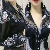 shirt White, black, leopard print (short sleeve) M,L,XL,2XL,3XL other 31% (inclusive) - 50% (inclusive) Long sleeves Polo collar Single row multi button Gauze real silk