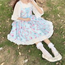 Dress Summer of 2019 Average size Middle-skirt singleton  Sleeveless Sweet One word collar High waist Decor Socket Princess Dress other camisole 18-24 years old Type A Other / other six point two zero 81% (inclusive) - 90% (inclusive) other polyester fiber princess