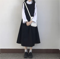 Dress Spring 2020 White jacket, black skirt, brown skirt Average size Mid length dress Two piece set Sleeveless Sweet other High waist Solid color Socket A-line skirt other straps 18-24 years old Type A twelve point two seven 81% (inclusive) - 90% (inclusive) other solar system