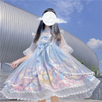 Dress Summer 2020 Sky blue, star powder, lavender, haze blue, with 9208 white inside Average size Mid length dress singleton  Sleeveless Sweet One word collar High waist Cartoon animation Socket A-line skirt 18-24 years old Type A six point two two solar system