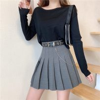 skirt Spring 2021 S,M,L,XL Black with belt, gray with belt Short skirt commute High waist Pleated skirt lattice Type A 18-24 years old Ruffles , Pleating , thread , Three dimensional decoration , zipper , Bright line decoration , 3D Korean version