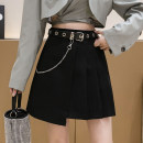 skirt Autumn 2020 S,M,L,XL Gray, black Short skirt commute High waist Pleated skirt Solid color Type A 18-24 years old Chain, asymmetry, fold, Auricularia auricula, three-dimensional decoration, line decoration Korean version