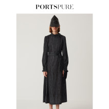 Dress Spring 2021 BLACK BLUE 32 34 36 38 40 42 44 Mid length dress singleton  Long sleeves street Half high collar middle-waisted Abstract pattern Socket One pace skirt routine 25-29 years old Type H ports pure Three dimensional decoration RM3D012LPP068 More than 95% other polyester fiber