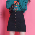 skirt Spring 2020 S ml XL XXL activity ends and recovers 79 yuan, ends at 24 o'clock and is not worth full refund Black (lined) dark blue light blue black white Short skirt Versatile High waist A-line skirt Solid color Type A 18-24 years old CM1524-1 More than 95% Denim Spring twilight cotton