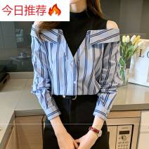 shirt Stripes, collection and purchase S,M,L,XL,2XL Spring 2021 other 51% (inclusive) - 70% (inclusive) Long sleeves commute Regular Half high collar Single row multi button shirt sleeve stripe 25-29 years old Straight cylinder Korean version B123