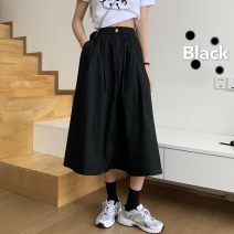 skirt Spring 2021 S,M,L,XL Black, white Mid length dress commute High waist Umbrella skirt Solid color Type A 18-24 years old 91% (inclusive) - 95% (inclusive) Other / other polyester fiber