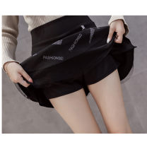 skirt Autumn of 2018 S,M,L,XL,2XL black Short skirt Versatile High waist A-line skirt Solid color Type A 18-24 years old DT6814 other Dian tou Inlaid diamond, three-dimensional decoration, zipper, stitching