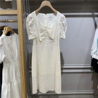 Dress Summer 2021 white 160/84A,165/88A,170/92A Mid length dress singleton  Short sleeve Sweet V-neck High waist Solid color zipper A-line skirt puff sleeve 18-24 years old Type A EEOWB25W4M cotton Mori