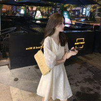 Dress Summer 2021 White black S M L XL longuette singleton  Short sleeve commute V-neck High waist Solid color Socket A-line skirt routine Others 18-24 years old Type A Mianzidai Korean version Button 71% (inclusive) - 80% (inclusive) other polyester fiber Polyester 80% other 20%
