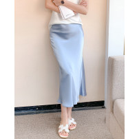 skirt Summer 2021 XS,S,M,L,XL,3XL,4XL longuette commute High waist skirt Solid color Type A 25-29 years old 71% (inclusive) - 80% (inclusive) Silk and satin Other / other polyester fiber zipper Simplicity 201g / m ^ 2 (including) - 250G / m ^ 2 (including)