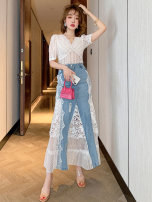 skirt Summer 2021 S M L XL 2XL 3XL Mid length dress commute Natural waist Denim My wife Korean version Pure e-commerce (online only)