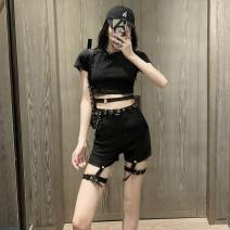 Casual pants S,M,L Summer 2021 shorts Overalls High waist street routine 18-24 years old 81% (inclusive) - 90% (inclusive) Cotton blended fabric rivet nylon Hip hop