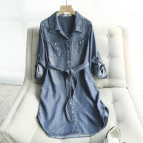 Dress Autumn of 2019 Washed denim M L XL Mid length dress singleton  Long sleeves street square neck middle-waisted Solid color Single breasted other routine Others 25-29 years old Lanfei rhyme Pocket lace up button More than 95% other other Other 100% Pure e-commerce (online only) Europe and America