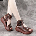 Sandals 35 36 37 38 39 40 Black Brown PU Barefoot Muffin bottom High heel (5-8cm) Summer 2021 zipper Europe and America Solid color Adhesive shoes Youth (18-40 years old) rubber daily Bag heel Muffin with Low Gang Lateral space PU PU Fashion sandals Shaving Pure e-commerce (online only)